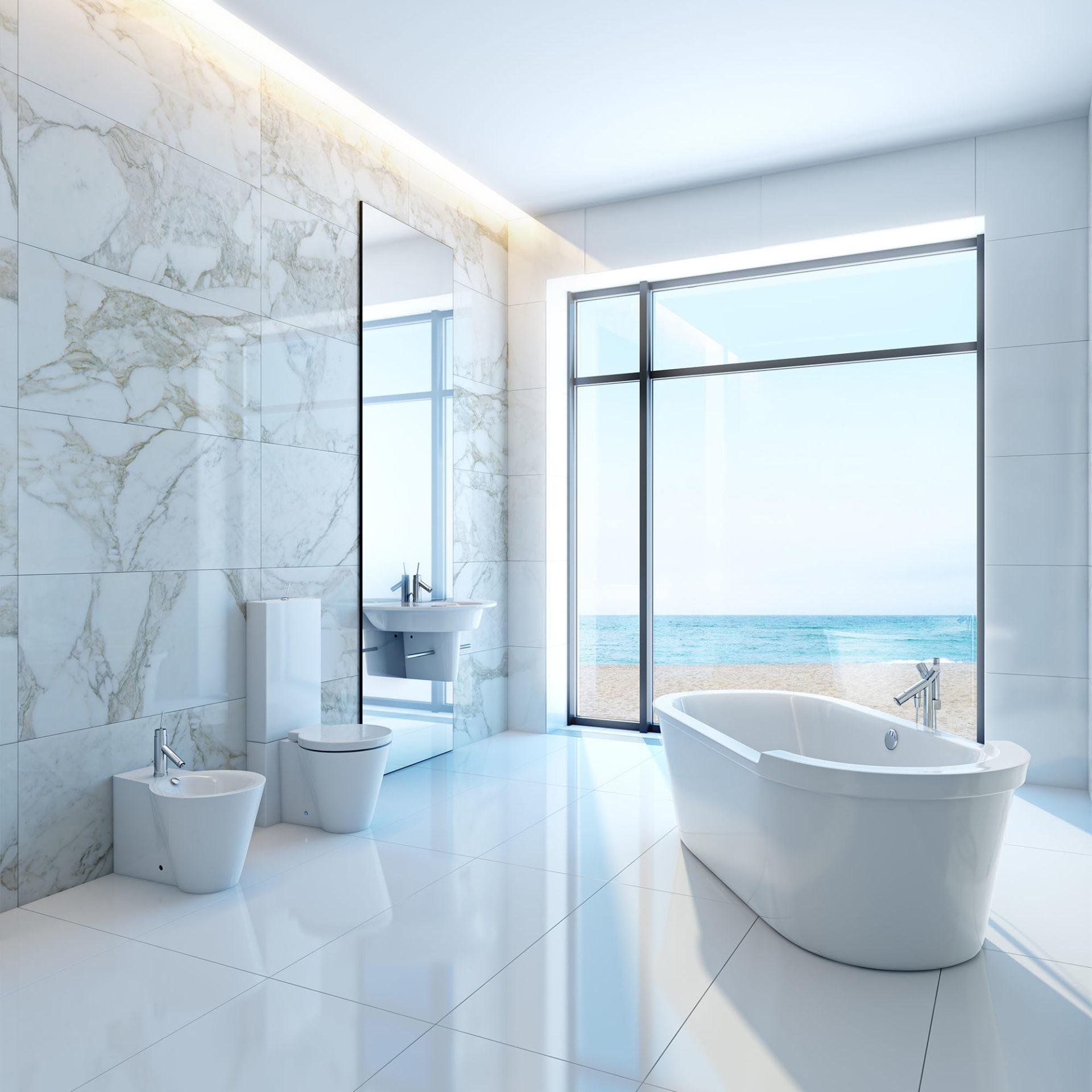 Aranżacja łazienki z wykorzystaniem jasnego spieku kwarcowego