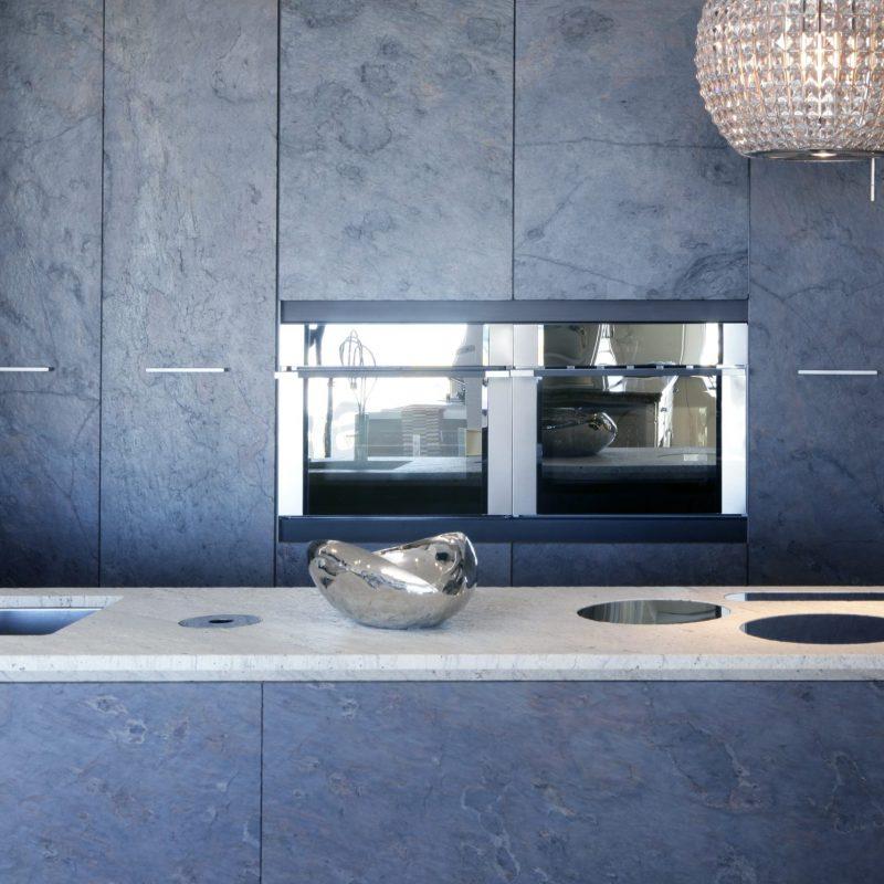Meble kuchenne z szarego forniru kamiennego